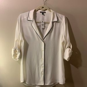 Express White Button Down Blouse with Collar